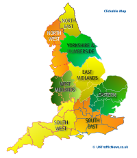 regional traffic news map of england